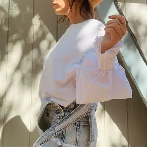 Zara Victorian Style White Blouse